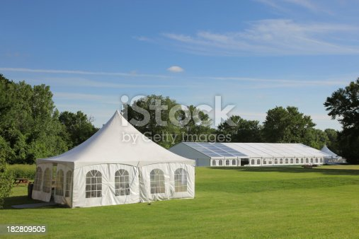 istock Small and large celebration tents in a park 182809505
