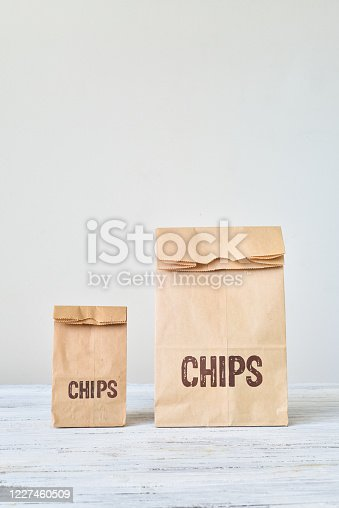 A bag of Chips on a white background.