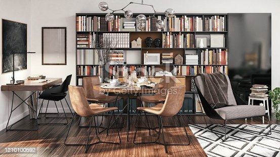 Picture of functional, small apartment interior design. Render image.