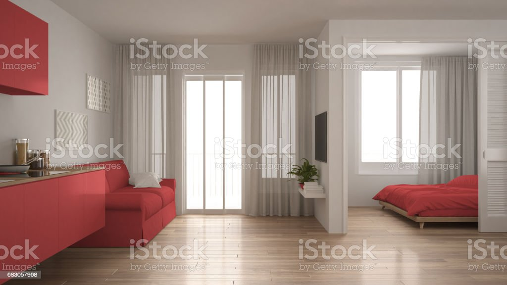 Small Apartment With Kitchen Living Room And Bedroom White ...