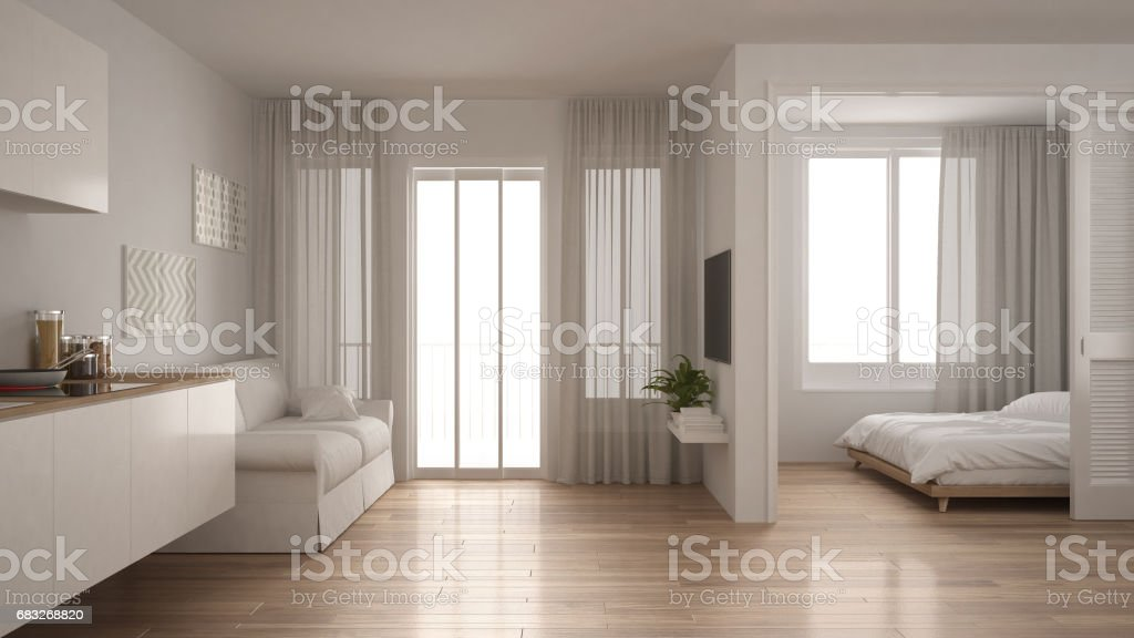 Foto De Small Apartment With Kitchen Living Room And Bedroom White Minimalist Interior Design E Mais Fotos De Stock De 1980 1989 Istock