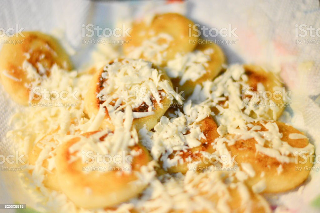 small arepas with cheese stock photo