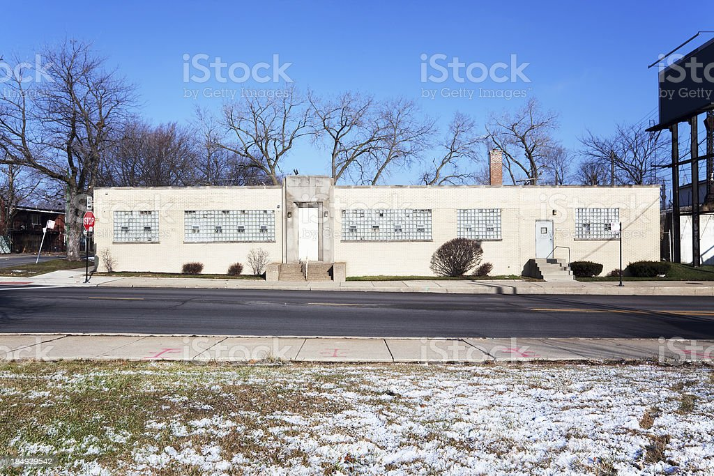 Small Art Deco factory building in Chatham, Chicago royalty-free stock photo