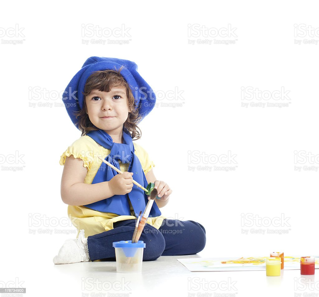small artist child painting with brush royalty-free stock photo