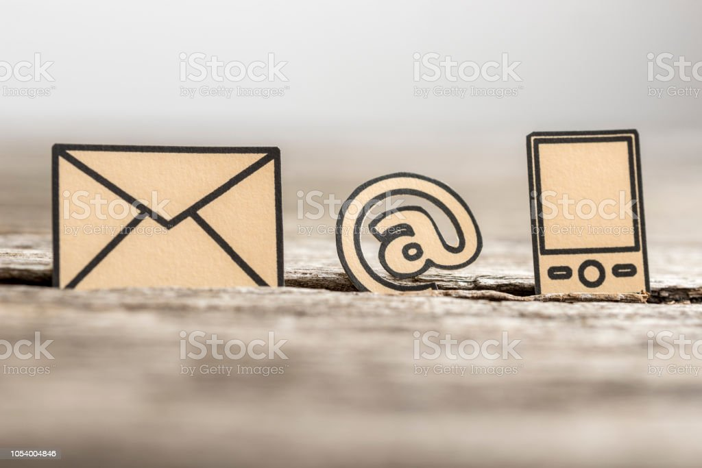Small At sign, mail and phone symbols stock photo