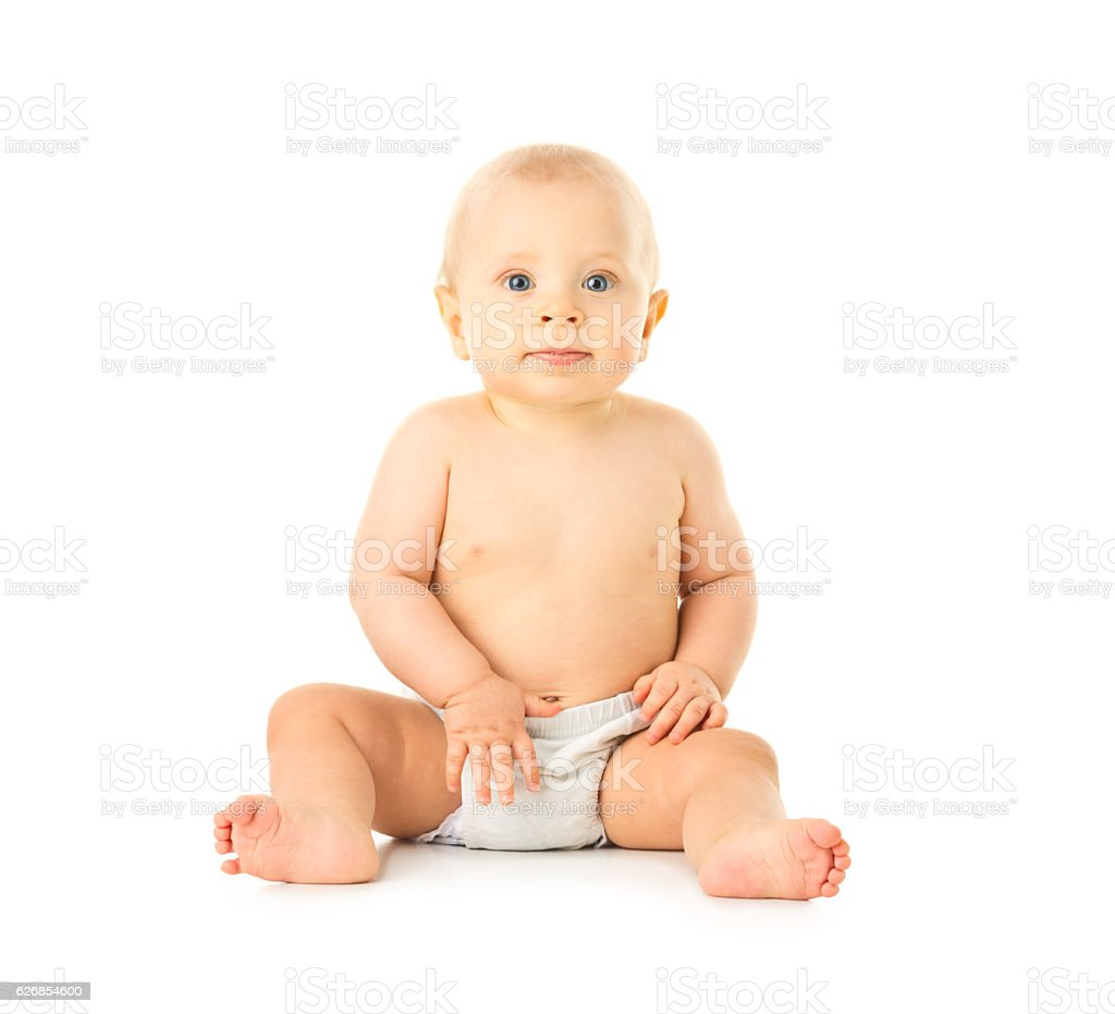 small baby sitting isolated on white stock photo