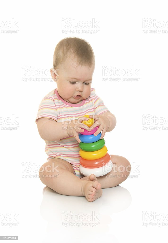 Small baby with toy pyramid #4 isolated royalty-free stock photo