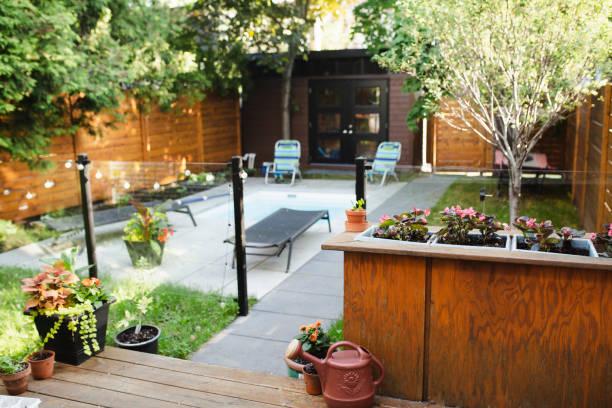 Small backyard stock photo