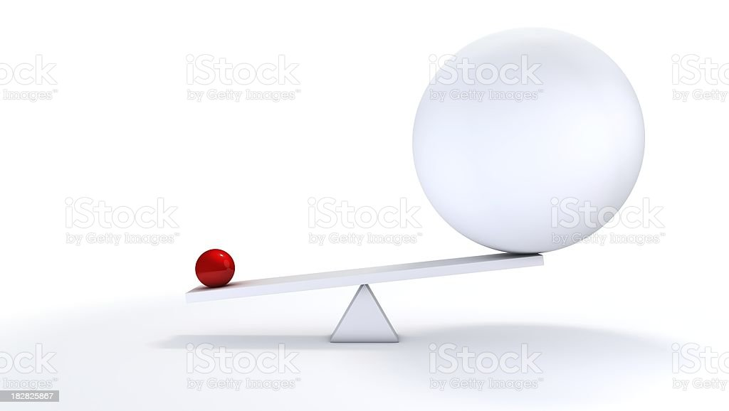 Small ball out balance. stock photo
