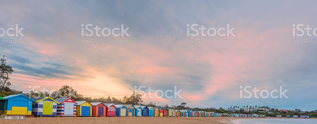 Small bathing houses and beautiful skay stock photo