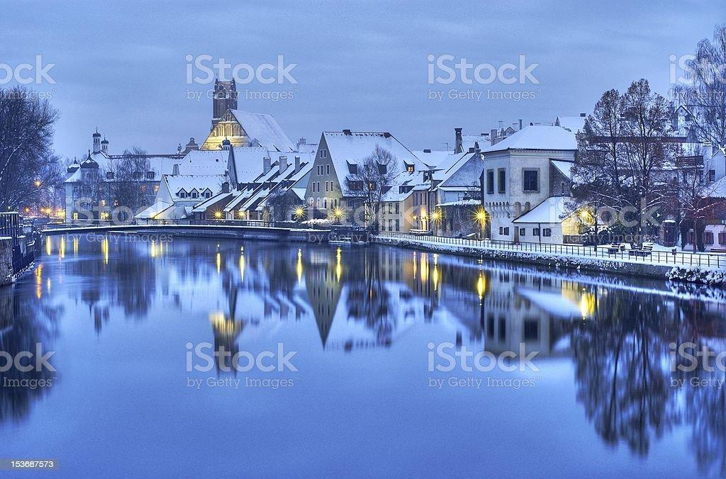 Small bavarian town near Munich on Christmass night royalty-free stock photo