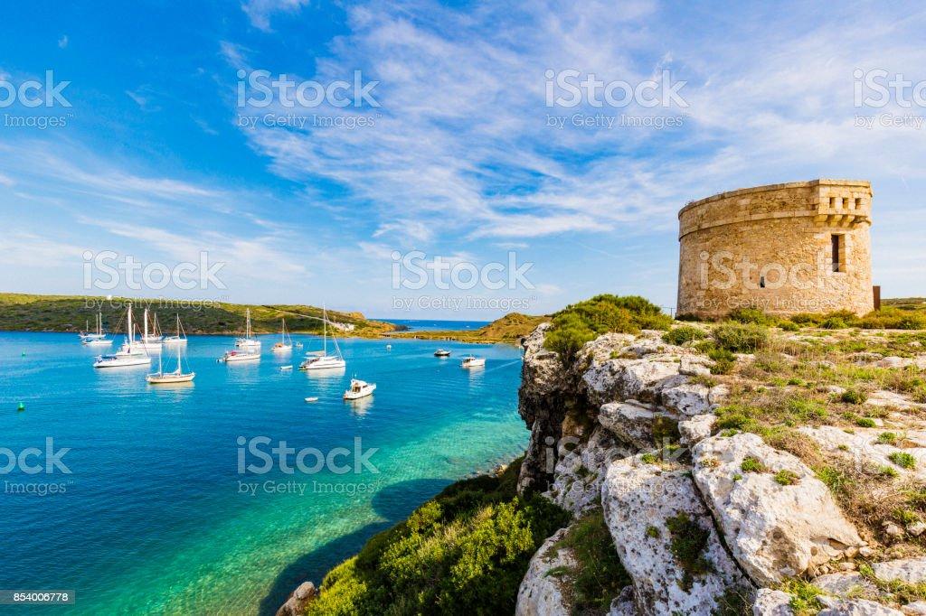 Small bay at La Mola Mahon Minorca Spain stock photo