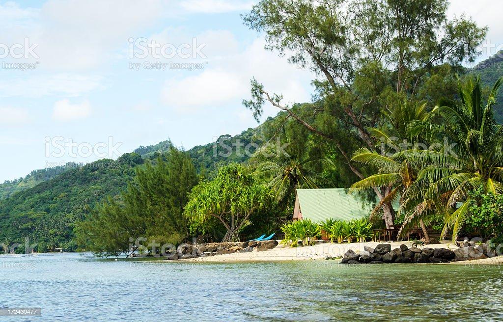 Small Beach Home Moorea royalty-free stock photo