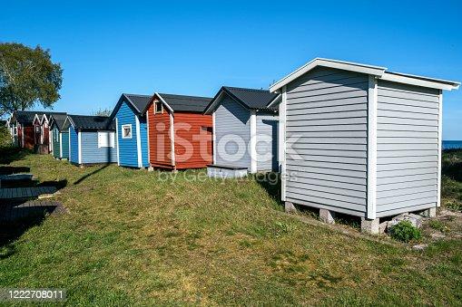 Small beach houses in Ystad city in Skane, Sweden