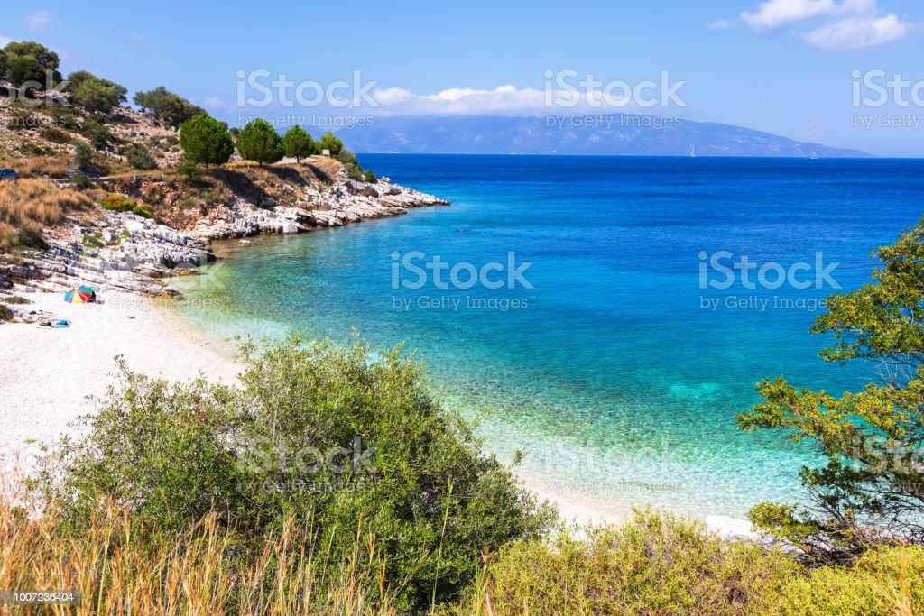 Small beach in Kefalonia island stock photo