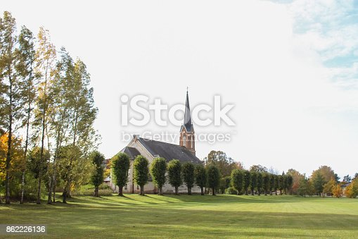 Beautiful architecture in small countryside village city with beautiful small church near park.