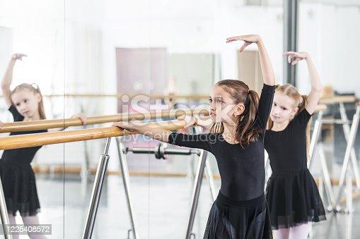 1160198096 istock photo Small beautiful cute girls children in the Studio train at a dance lesson. 1225408572
