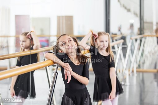 1160198096 istock photo Small beautiful cute girls children in the Studio train at a dance lesson. 1225408598