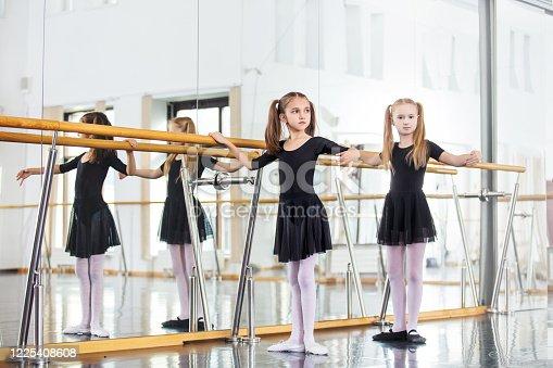 1160198096 istock photo Small beautiful cute girls children in the Studio train at a dance lesson. 1225408608