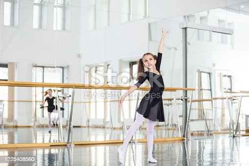 1160198096 istock photo Small beautiful sweet girl child in the studio trains for a dance lesson. 1225408560