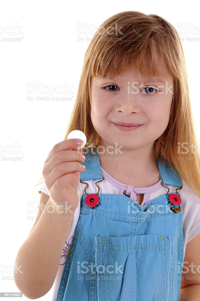 Small beauty girl with white tablet royalty-free stock photo