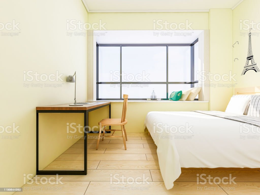 Small Bedroom Design Small Bed And Study And Office Desk Collocation Stock Photo Download Image Now Istock