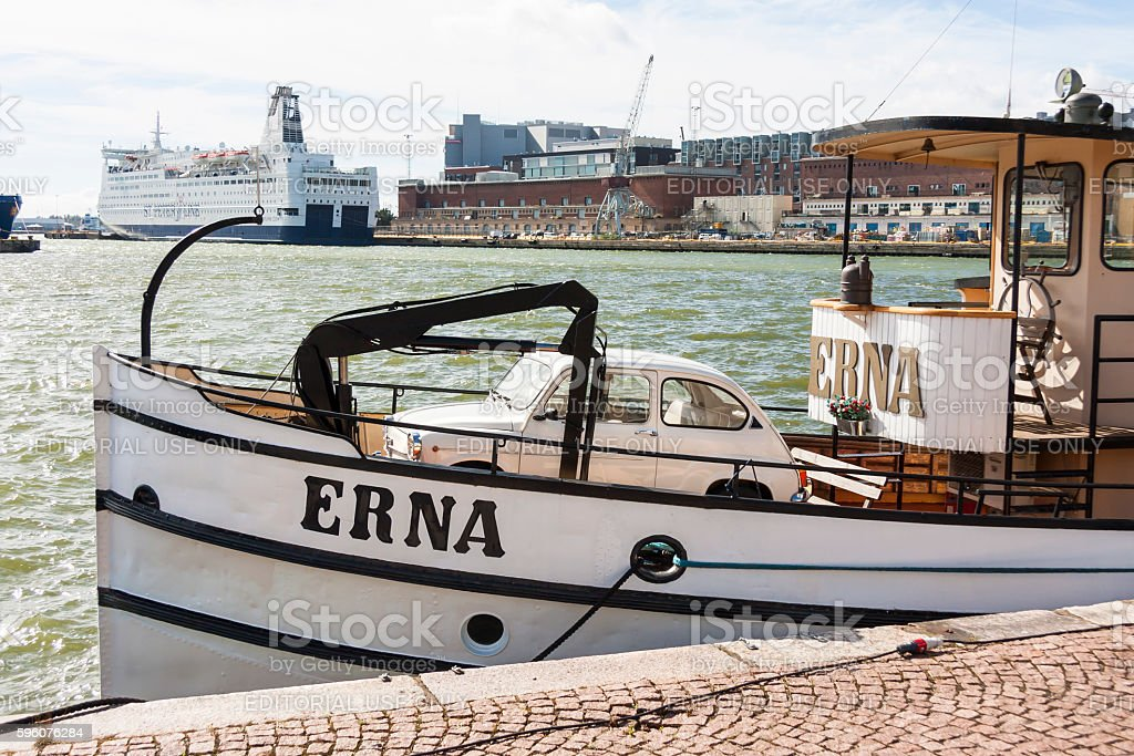 Small beige vehicle in a boat in Helsinki, Finland royalty-free stock photo