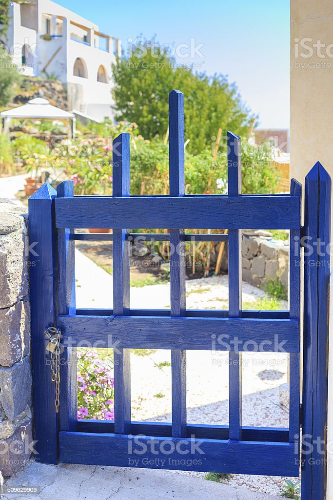 Small blue gate stock photo