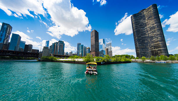Small Boat in Chicago stock photo