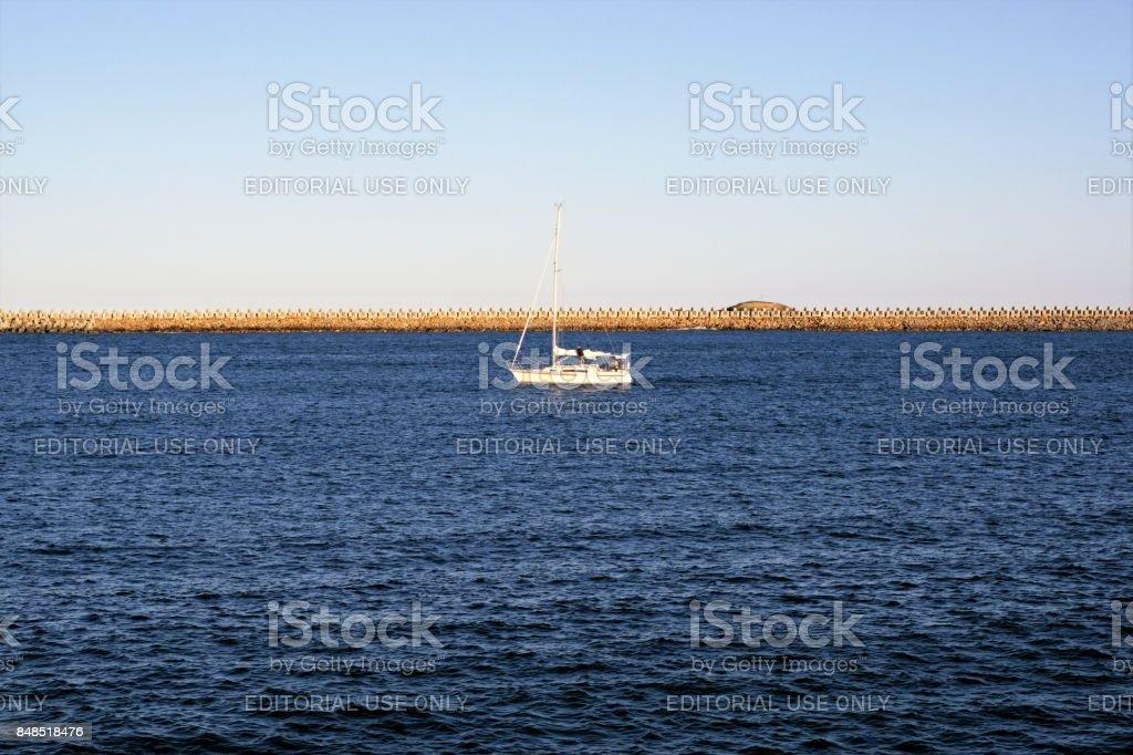 Small boat in Coffs Harbour, Australia stock photo