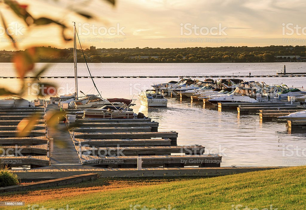 Small boat marina on the Illinois River stock photo