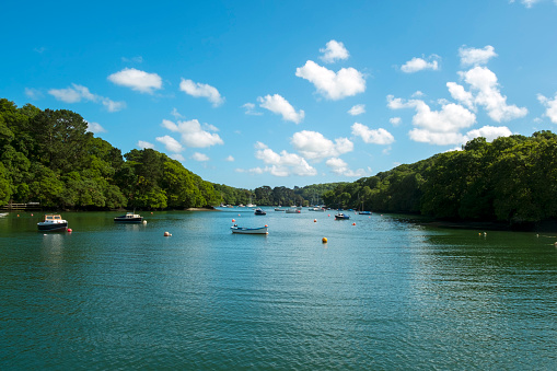 Small boat moorings in the Helford Estuary at Port Navas, Cornwall, UK