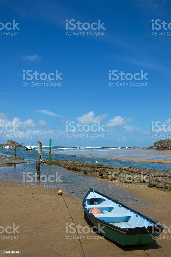 Small Boat on a Beach stock photo