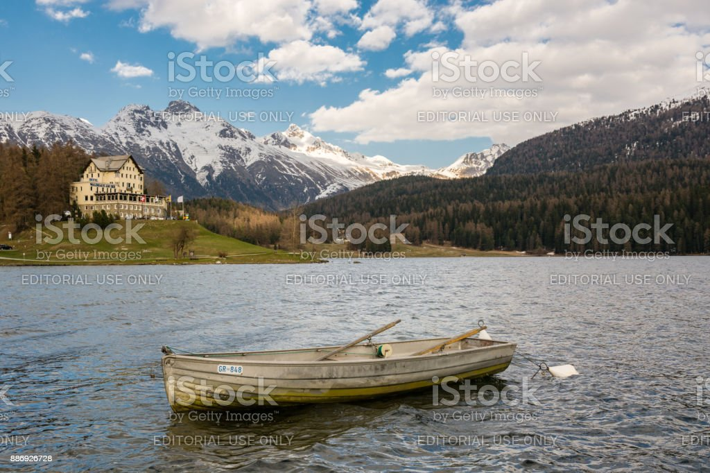 Small boat on St. Moritzersee in St. Moritz, Switzerland stock photo