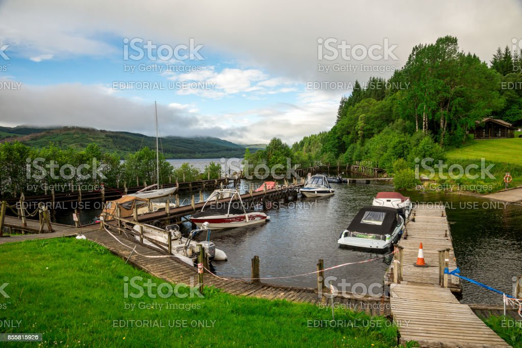 A small boat station at Loch Tay waterfront near Killin, central Scotland stock photo