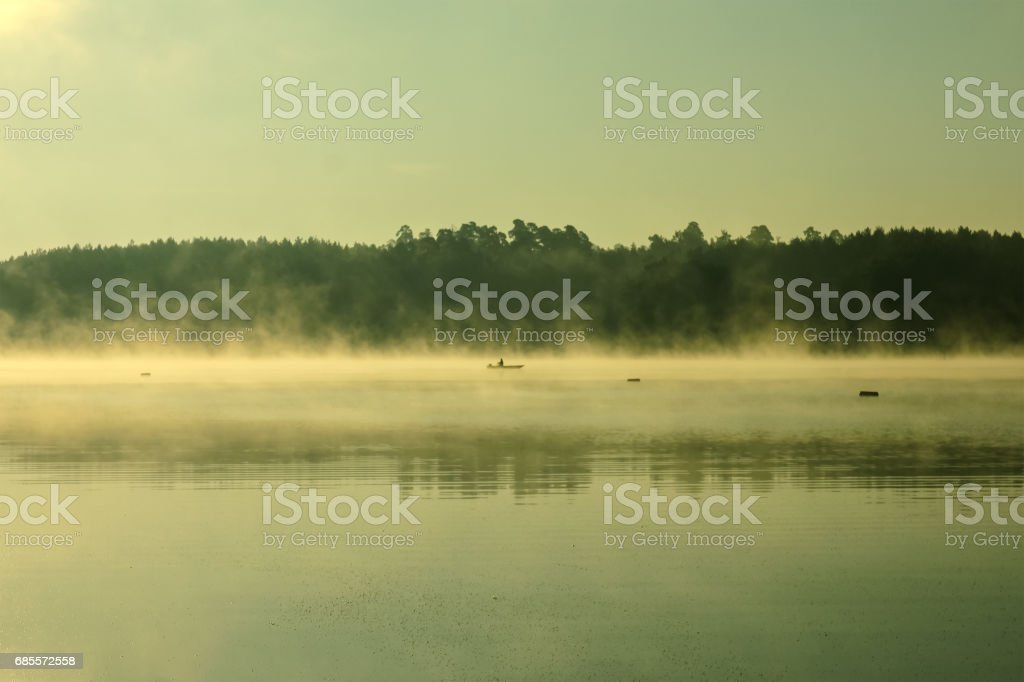與天空映照在河在森林裡的小船 免版稅 stock photo
