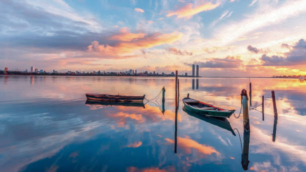 Kleine Boote verankert n der hydrographischen Becken Pina Nachbarschaft, in Malerei-Effekt – Foto