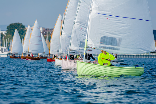 Small boats at the starting line