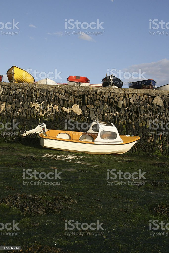Small boats on  pier, Clonakilty, Co Cork South West Ireland stock photo
