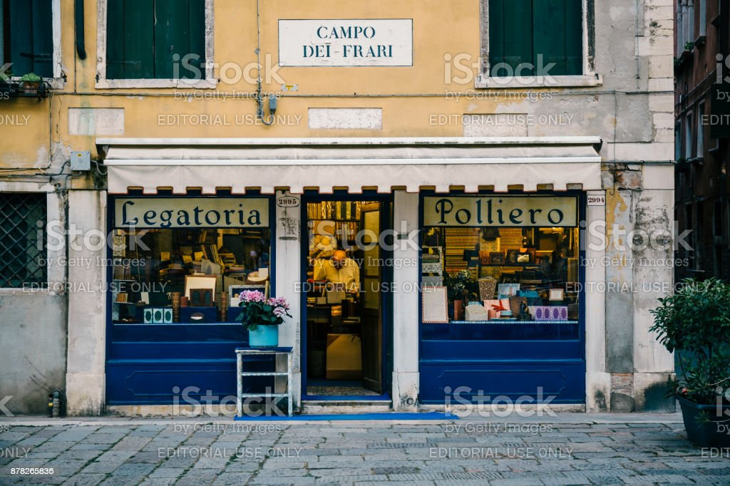 Small book bindery shop in Venice, Italy. stock photo
