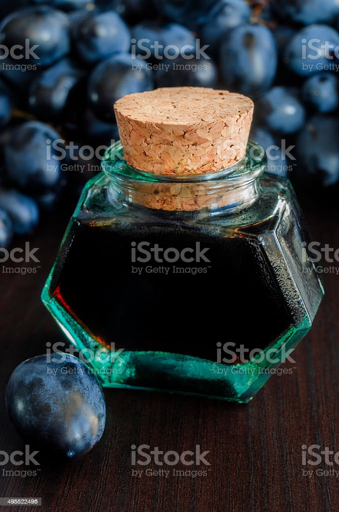 Small bottle of balsamic vinegar stock photo
