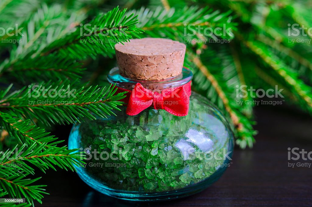 Small Bottle Of Bath Salt And Christmas Tree Branches Stock Photo Download Image Now Istock