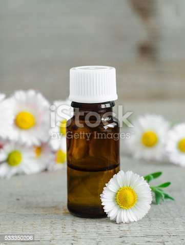 istock Small bottle of essential chamomile oil (tincture) 533350206