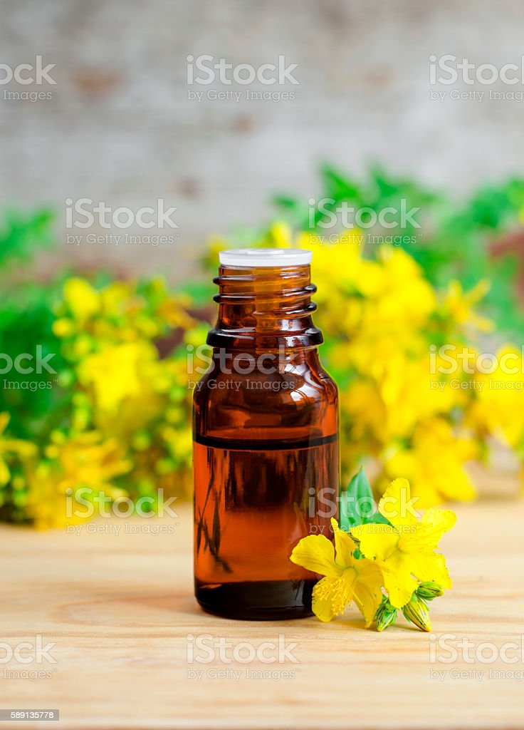 Small bottle of essential St John's-wort oil (extract, tincture, infusion) stock photo