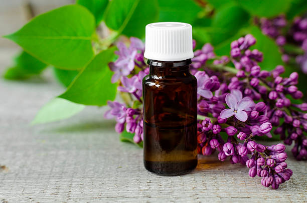 Small bottle of lilac flowers tincture (cosmetic oil) Small bottle of lilac flowers tincture (cosmetic oil) antipyretic stock pictures, royalty-free photos & images