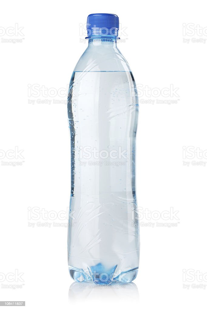 A small bottle of water on a white background royalty-free stock photo