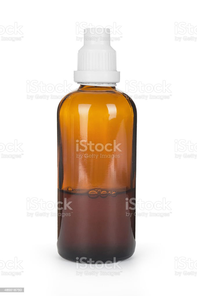 Small bottle with drug isolated over white background stock photo