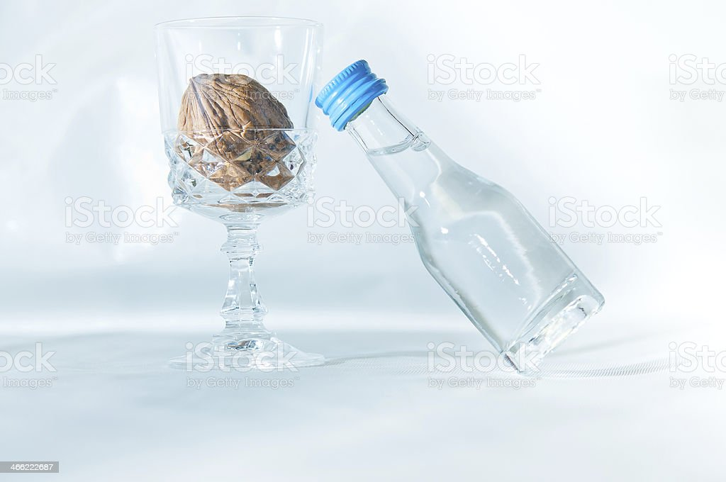 Small bottle with glas stock photo