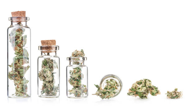 kleine flasche mit medizinischem marihuana knospen, nahaufnahme, isoliert auf weißem hintergrund. therapeutische und medizinische cannabis - blütenstand stock-fotos und bilder