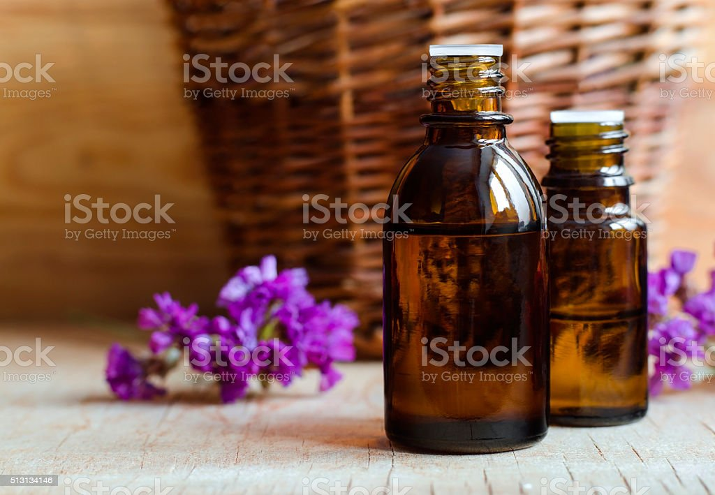 Small bottles of essential oil stock photo